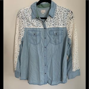 Anthropologie Lace Detailed Denim Button Up Shirt